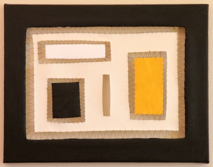 """Sewn Apart - oil, acrylic and thread, 18"""" x 14"""""""