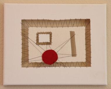 """Malevich - cloth and thread, 10"""" x 8"""""""