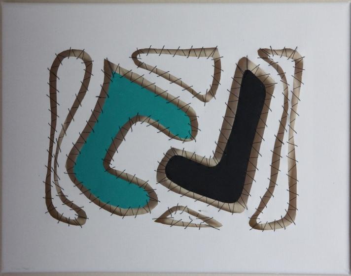 """Sewn Apart #2 - Acrylic and thread, 18"""" x 12"""""""