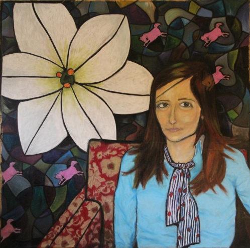 In a Red Chair by a Flower in Bloom - Oil Pastel