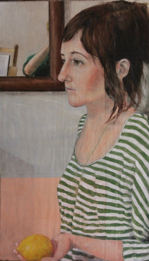 """Angela"" - oil Pastel, 27"" x 16"""
